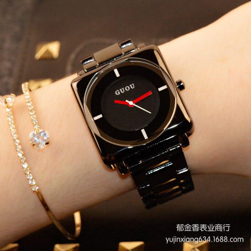 HK marca relojes de cuarzo relojes de alta calidad Relojes de mujer oro rosa negro correa de acero inoxidable cuadrado del bromista simple lujo