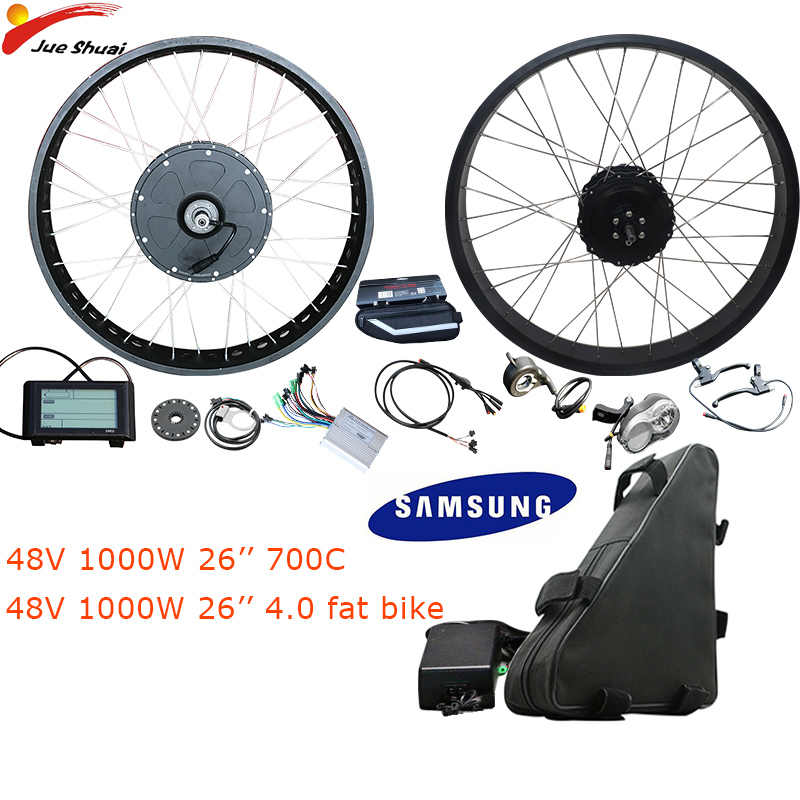 "48V 1000W Electric Bike Conversion Kit Samsung 48V 20ah Rear Motor Wheel  26"" 4.0 Fat Tire Bicycle Electric Complete Ebike Kit"