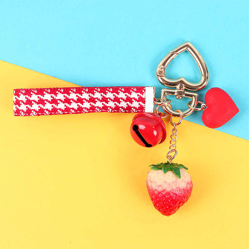 Chaveiro Coração Chaveiro Menina morango Vermelho Para As Mulheres Menina Jóias Simulado Fruto Bonito Titular da Chave Do Carro Chaveiro