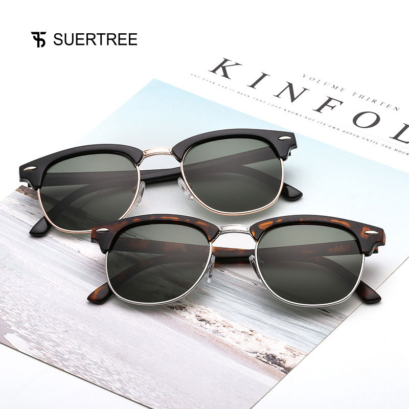 SUPERTREE 2018 New Vintage Polarized Sunglasses Retro Women Men Half Frame Rivet Shades Classic Eyeglasses UV400 Protection