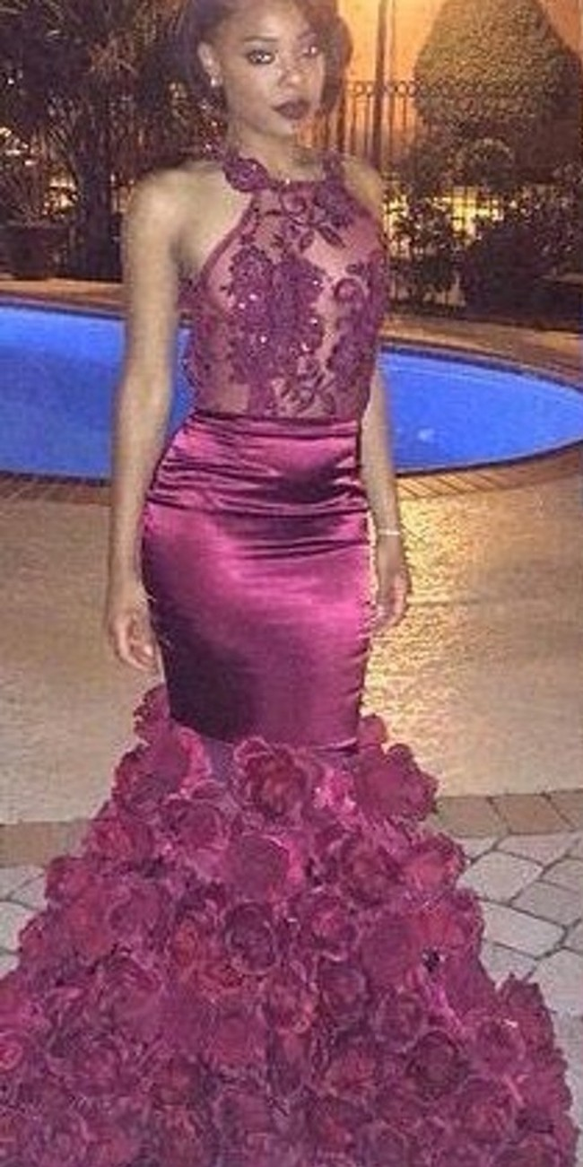 Rose Flower Long Burgundy Mermaid Prom Dresses 2017 For Black Girls ...
