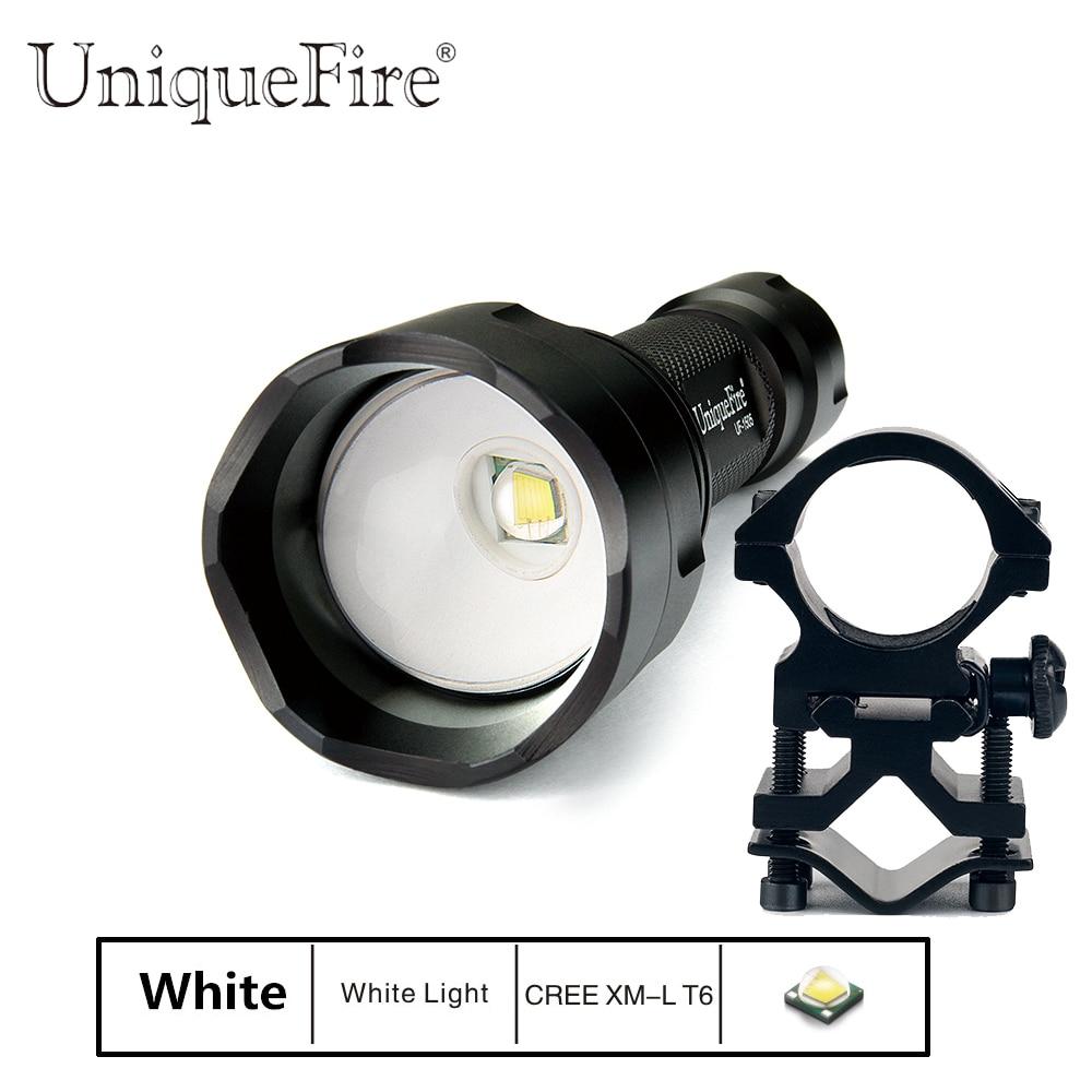 UniqueFire 1505 UF Flashlight Cree XML T6 Zoomable LED Lantern Torche For 1* 18650 Battery(Black)+Gun Mount налобный фонарь hedeli t6 cree xml 3000 18650 ht410c2
