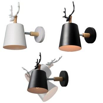 Kreatif Shofar Gaya Kayu Solid Kartun Lampu Dinding Vintage Besi Industri Angin E27 Lampu Dinding untuk Samping Tempat Tidur Lorong Restoran Bar
