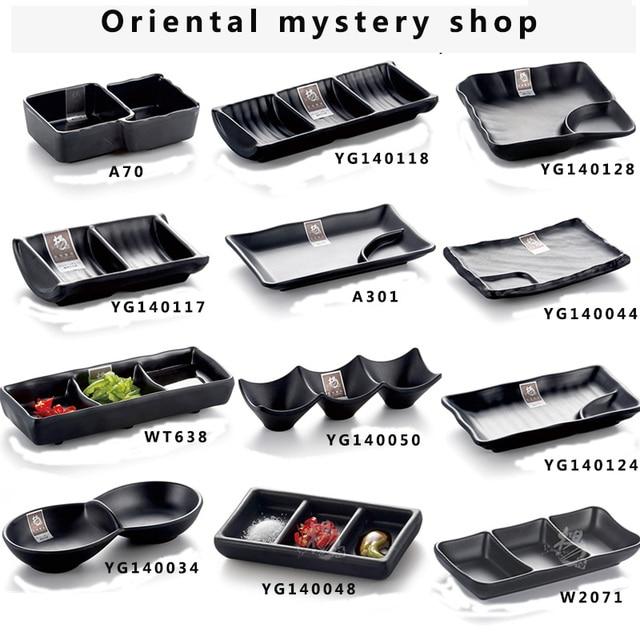 Imitation porcelain Japanese sushi bar plates grind arenaceous black plate creative hotpot sauce melamine tableware snack & Imitation porcelain Japanese sushi bar plates grind arenaceous black ...