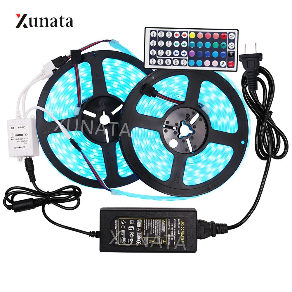 12V RGB LED Strip SMD5050 RGBW RGBWW 5m 10m Waterproof Led Strip Flexible LED Tape Remote Control+EU Adapter LED Ribbon Set