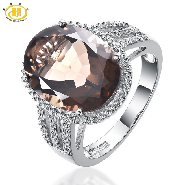 HUTANG NEW 8.37ct Natural Oval Smoky Quartz Solid 925 Sterling Silver Cocktail Ring Gemstone Fine Jewelry Women's Xmas Gift