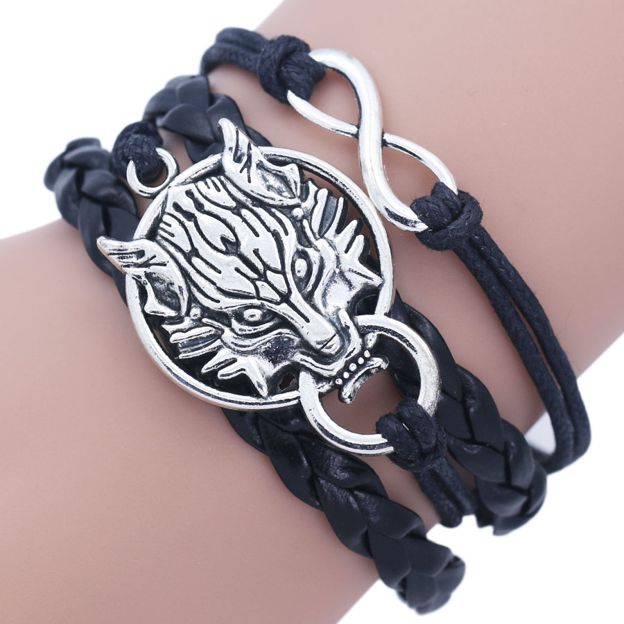 Wolf Charm Bracelet: NingXiang Vintage Antique Silver Teen Wolf Head Infinity