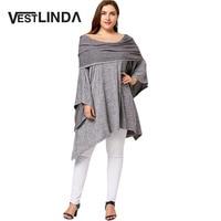 VESTLINDA 2017 New Autumn Asymmetric Plus Size Off Shoulder Tunic Tops Women Casual Big Size Solid