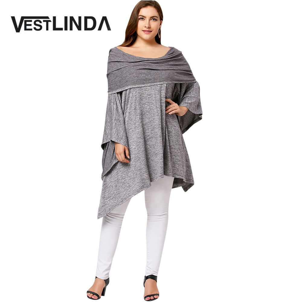 VESTLINDA 2017 New Autumn Asymmetric Plus Size Off Shoulder Tunic Tops Women Casual Big Size Solid Batwing Sleeves Shirt Loose