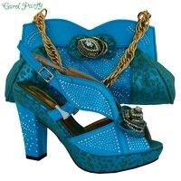تصميم الأزياء سيدة الأحذية الايطالية أكياس مطابقة ل حفل الزفاف ، عالية الجودة منتصف كعب مع الحجر MM1016