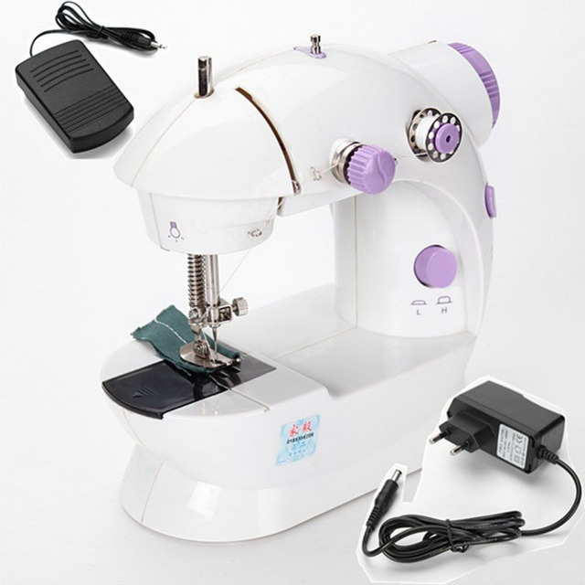 Mini electric household sewing machine dual speed Double Thread power supply household Automatic Tread Rewind Sewing Machine