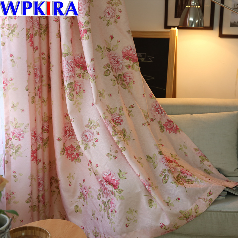 Blinds Modern Pink Flower Window Semi Blackout Curtains for Living Room the Bedroom Kitchen Window Treatments Floral HC030-40