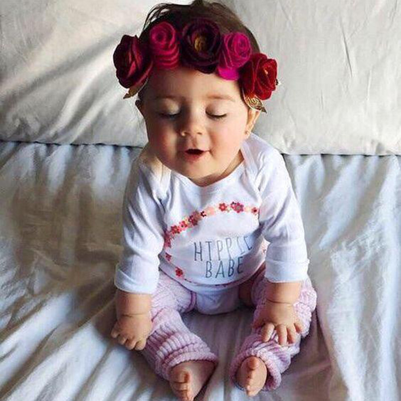 1 PC Cute Kids Flower Crown Headbands Newborn Party Roes Floral Tiara   Headwear   Kids Hair Bands Accessories
