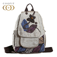 2018 National Style Leafs Embroidery Women Backpack Retro Leaves Flowers Beads Canvas Female Backpack School Bagpack