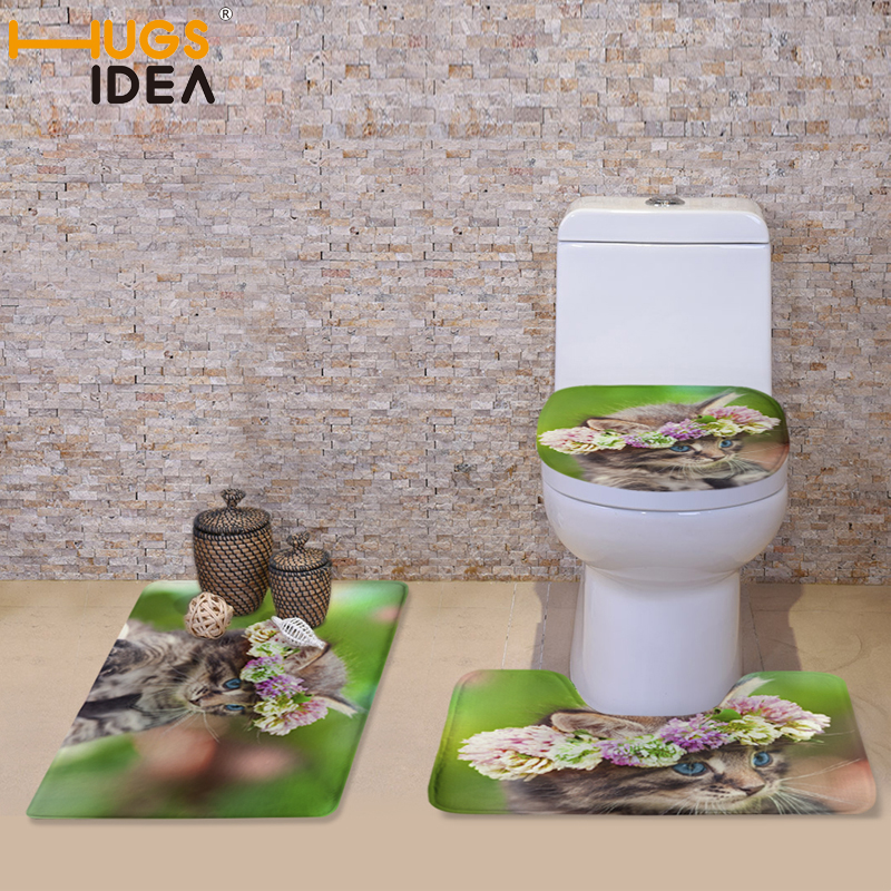 HUGSIDEA 3D Cute Cat Floral Print Toilet Seat Covers Mat 3 Piece Set Warmer Soft Bathroom Carpeted Toilet Accessories Set