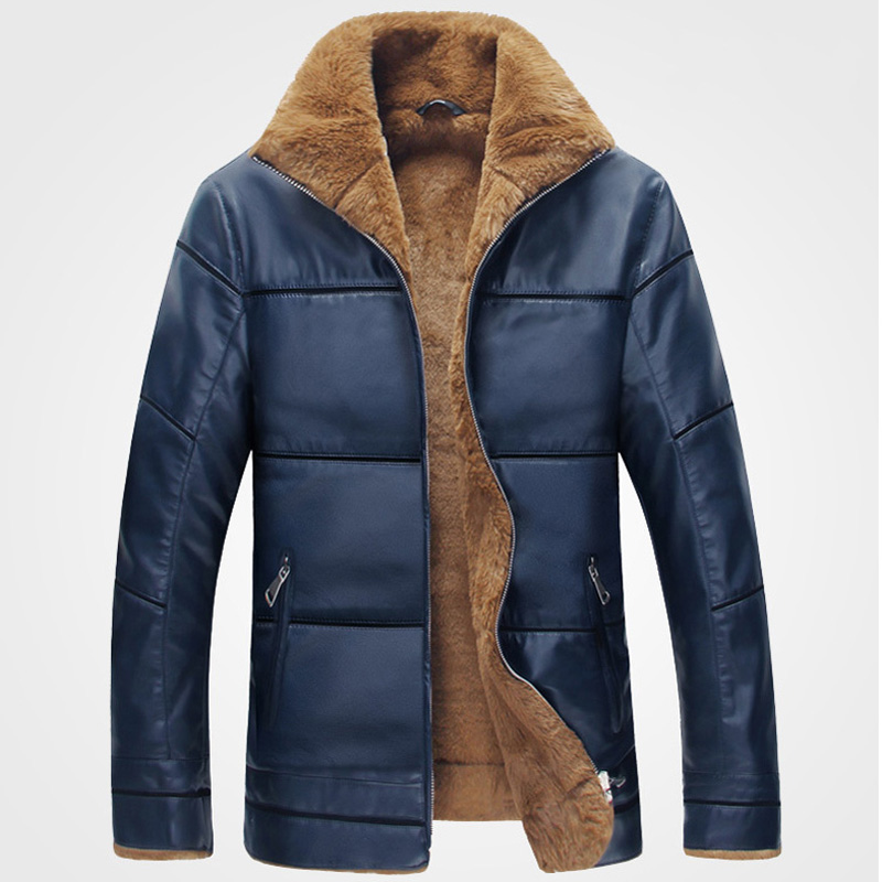 Plus Size 10XL Fur Lined Leather Jacket and Coats Brand Designer ...