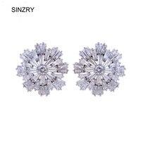 2014 Hot Selling Rose Gold Plated Swiss Zircon Blossom Flower Luxury Bridal Stud Earrings Fashion