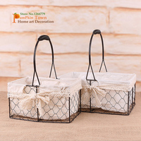Nordic style metal+cloth portable storage basket,Barbed wire waterproof basket,woven basket,dried flower pot, succulent plants