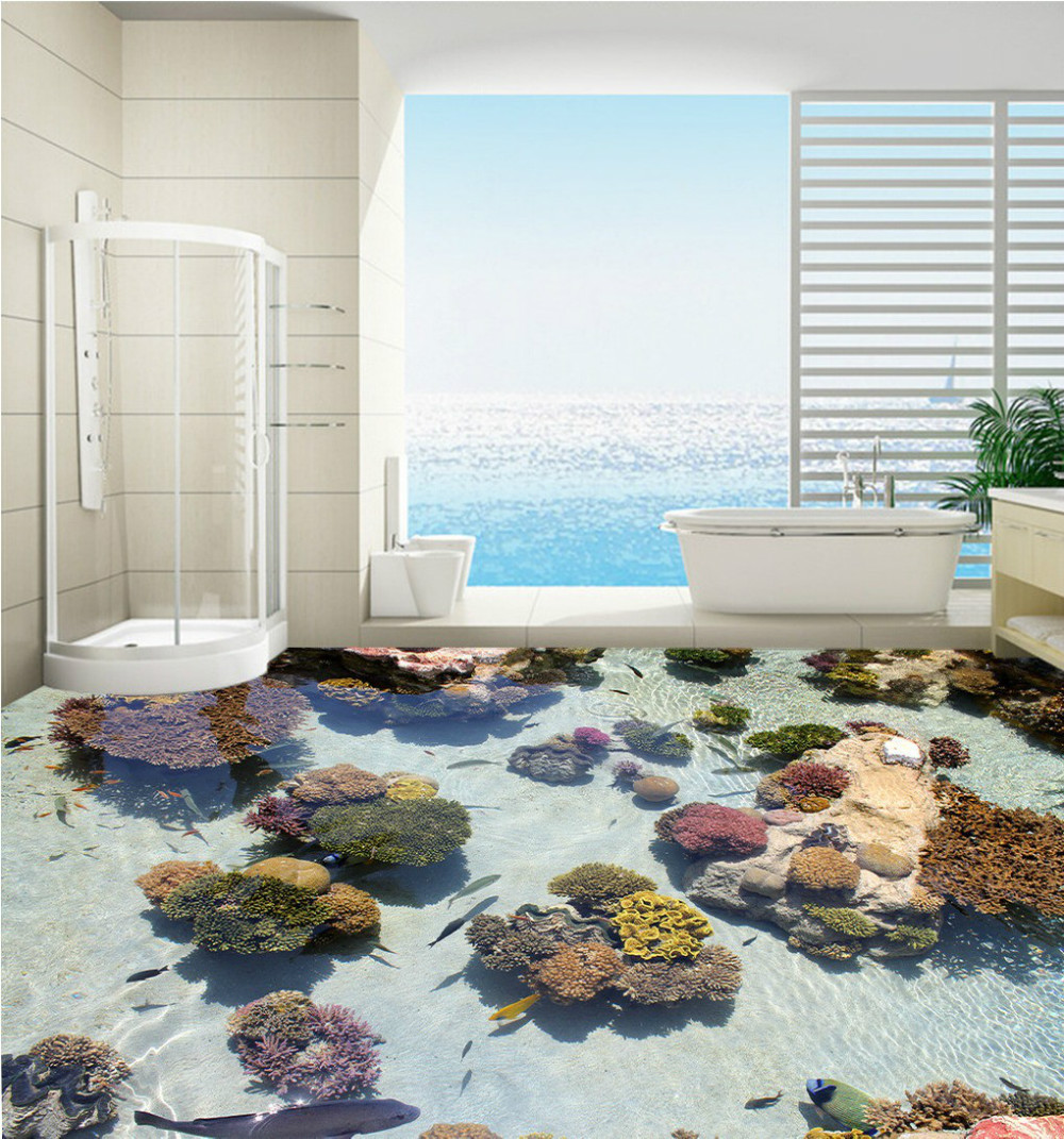 Free Shipping 3D custom Coral tropical fish marine floor painting bedroom living room lobby floor wallpaper mural корм tetra tetramin xl flakes complete food for larger tropical fish крупные хлопья для больших тропических рыб 10л 769946