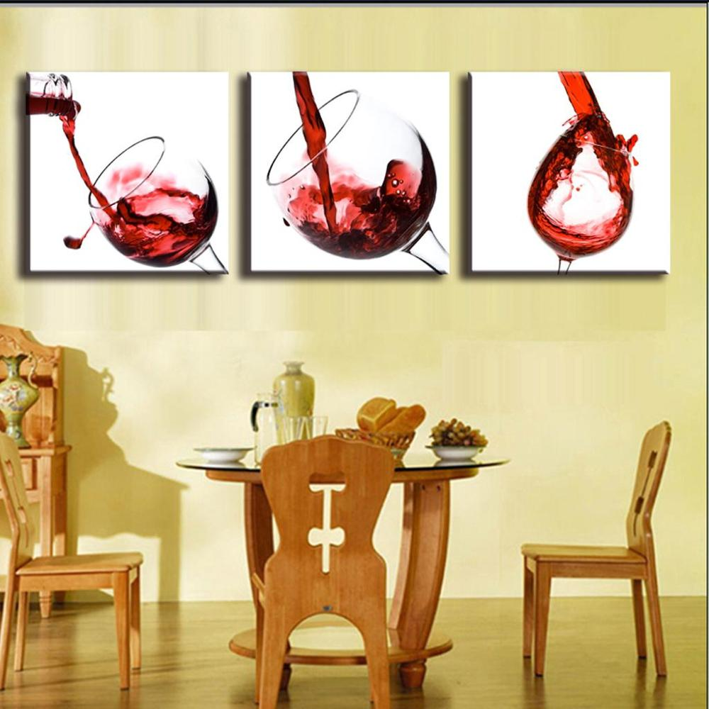 3 Panel Red Wine Glass Painting Canvas Wall Art Picture Home ...