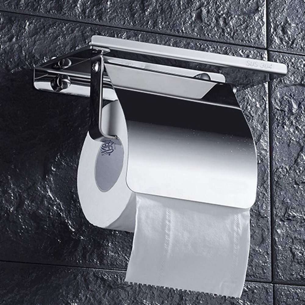 Stainless Steel Anti-rust Tissue Holder Wall Mounted Hanging Rack Roll Paper Towel Holder Bathroom Toilet Home Supplies everso wall mounted toilet paper holder with shelf stainless steel toilet roll paper holder tissue holder bathroom accessories