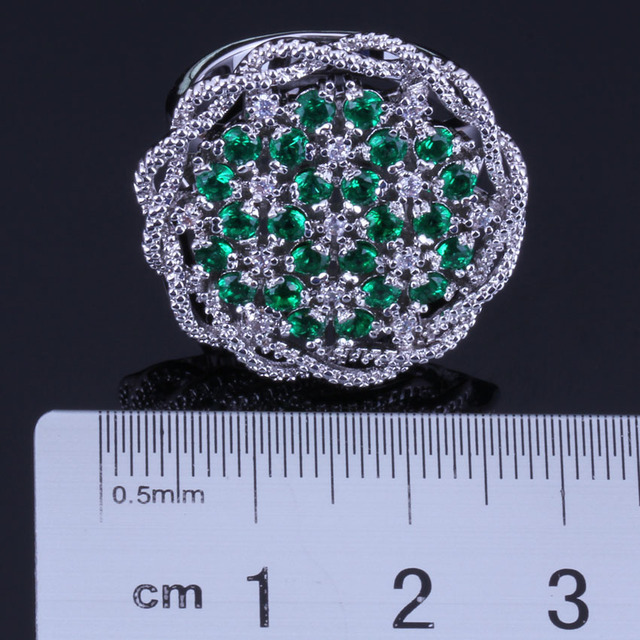 Admirable Big Flower Green Cubic Zirconia White CZ Silver Plated Stamped 925 Ring For Women V0519