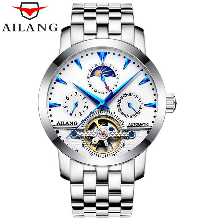 AILANG Skeleton Tourbillion Mechaniccal Watches Relogio Self Wind Luxury Stainless Steel Strap Business Mens Mechanical Watch binger skeleton tourbillion mechaniccal watches relogio self wind luxury full steel strap business mens mechanical watch 2017