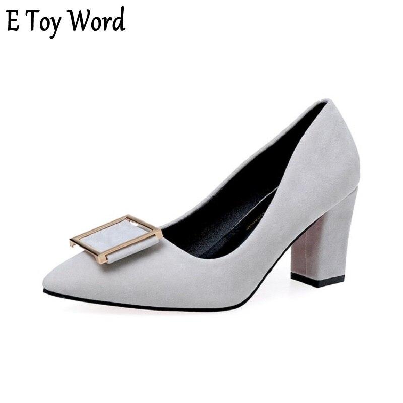 E игрушки слово весна и осень обувь 2018 женские новые квадратной пряжкой высокий каблук высота и острым голова голая 7 см черные распарованны... ...