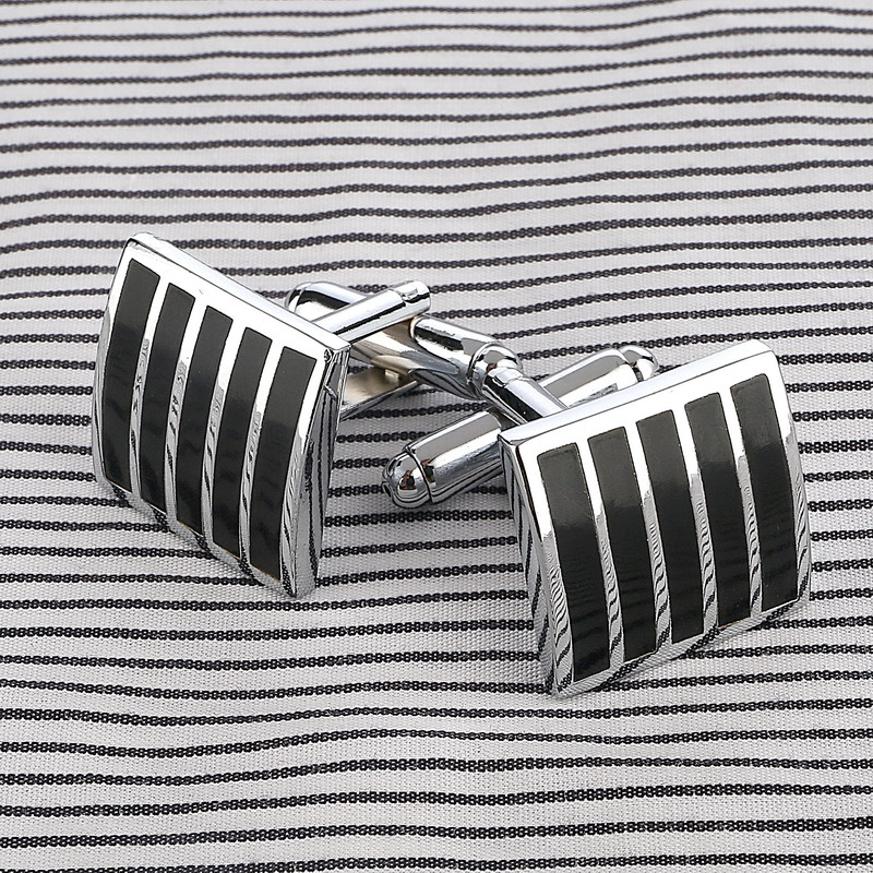 Vintage Retro Black Enamel Cufflinks Buttons Brass Stamping Cufflinks Square Stripe French Suit Shirt Cuff Links For Wedding