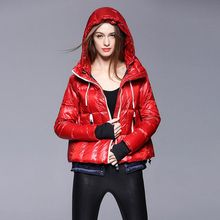 Women Winter Coat Red Black Solid Loose Punk Style Jackets Zipper Duck Hoodied Casual Female Coats Street Wear Women Outwear