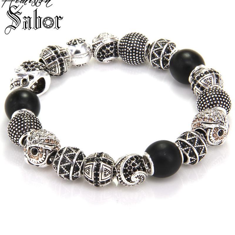 Bracelet de perles KM avec croix de hibou perles de crâne de Zigzag MAORI Bracelet de roche rebelle pour hommes KB535 bijoux thomas