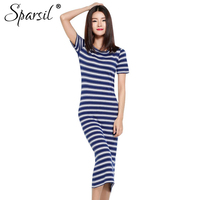 Sparsil Women's Summer O Neck Striped Cotton Blend Knitted Long Dress Sweater Short Sleeve Knitwear Sweater