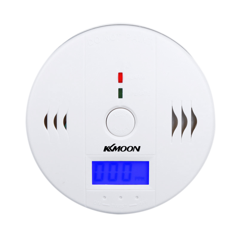 White Security Alarm LCD CO Carbon Monoxide Poisoning Sensor Monitor Alarm Detector