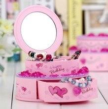 1PC New Birthday Cake Style Music Box Plastic Music Cassette Mirror Jewelry Misic Box KN 032