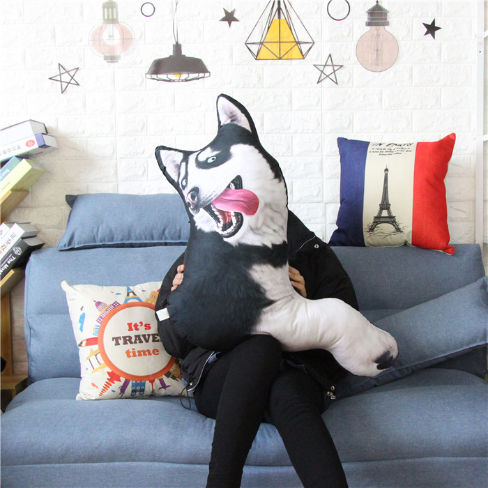 Candice guo! cute plush toy 3D emulation dog funny expressions Husky stuffed cushion pillow creative birthday Christmas gift 1pc rare big barbapapa pillow round cushion funny face barbapapa plush toys creative birthday gift