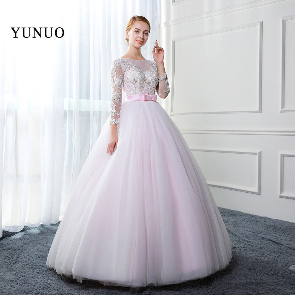 Beauty Pink Tulle Boat Neck Long Sleeves Ball Gown Wedding Dresses 2018 Lace Up Appliques Beading Long Weeding Dress YN81107