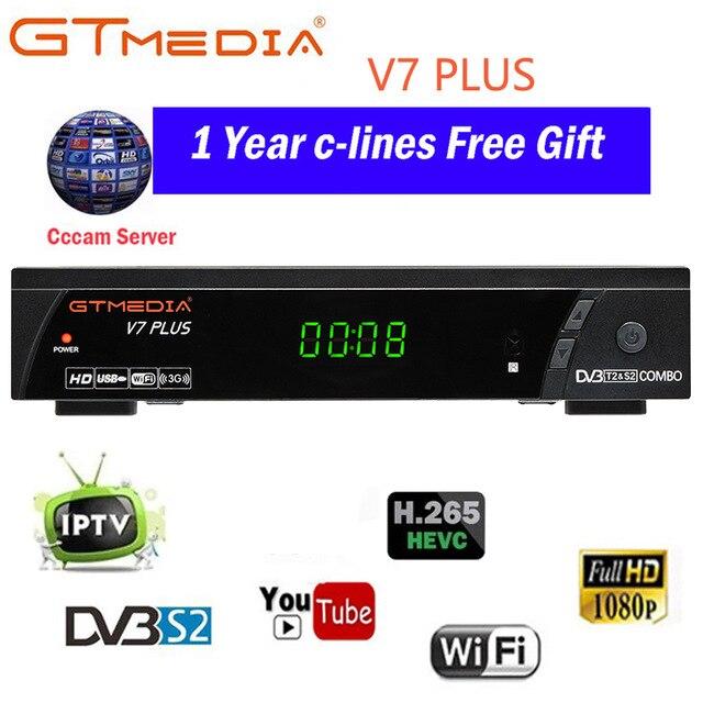 Gtmedia v7 plus DVB-S2 & t2 combo receptor suporte h.265 powervu biss 1 ano cccams newcamd youtube atualização de freesat v7 combo