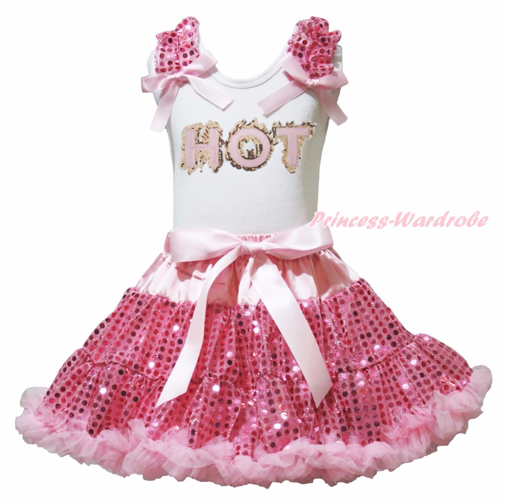Valentine's Day Pink Minnie HOT Birthday Daddy Heart White Top Pink Bling Sequins Girl Skirt Outfit 1-8Y valentine daddy main squeeze white top pink floral girl skirt outfit set 1 8year