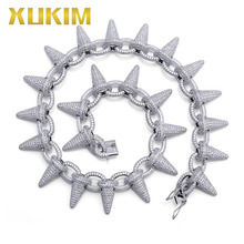Xukim Jewelry Silver White Gold AAA Cubic Zirconia Iced Out Rivet Spike Chain Link Mens Necklace Hip Hop Jewelry xukim jewelry full iced out prong setting aaa cubic zirconia silver color 8mm squire cuban chain necklace hip hop rapper jewelry