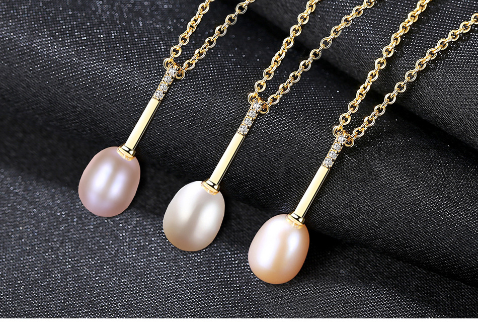 Fashion S925 Sterling Silver Necklace Women s Natural Freshwater Pearls with Zircon Item Pendant GHD05