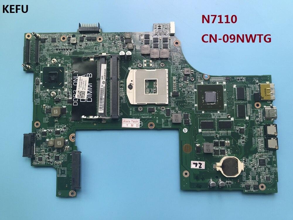 KEFU CN 09NWTG 9 NWTG pasuje do DELL INSPIRON 17R N7110 laptopa płyty głównej płyta główna w DAV03AMB8E1 DAV03AMB8E0 REV: E płyty głównej płyta główna w Płyty główne od Komputer i biuro na AliExpress - 11.11_Double 11Singles' Day 1