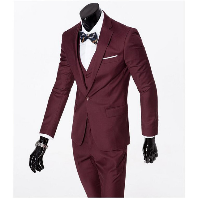 ( jacket + vest + pants ) 2018 Spring Men's Slim Fit Business Three-piece Suits Male groom Party dress /Man Wedding Blazers Sets 4