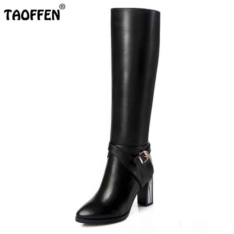 Women Real Natrual Genuine Leather High Heel Knee Boots Fashion Square Toe Zipper Brand Heels Footwear Shoes Size 31-45 nayiduyun new fashion thigh high boots women genuine leather round toe knee high boots high heel party pumps casual shoes