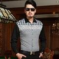 2016 ISMEN мужская рубашка с длинным рукавом мужской деловой свободного покроя мода формальные рубашки тонкий Masculina Camisa