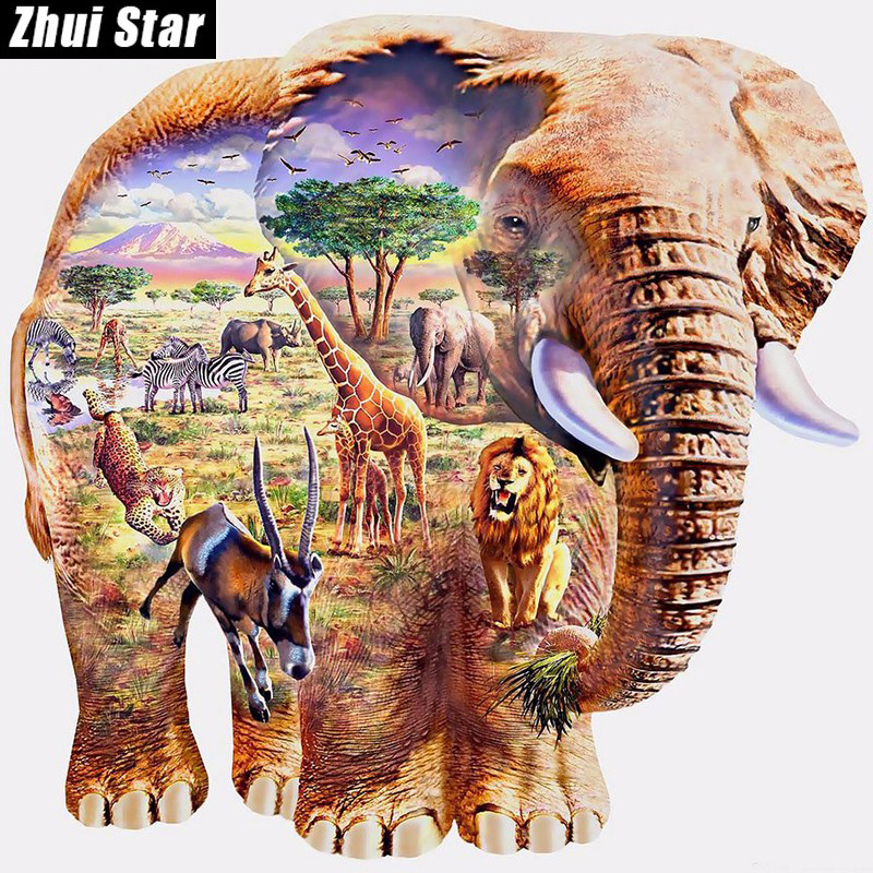 Ny 5D DIY Diamantmålning Elephant Zoo Broderi Full Square Diamond Cross Stitch Rhinestone Mosaic Painting Heminredning Present