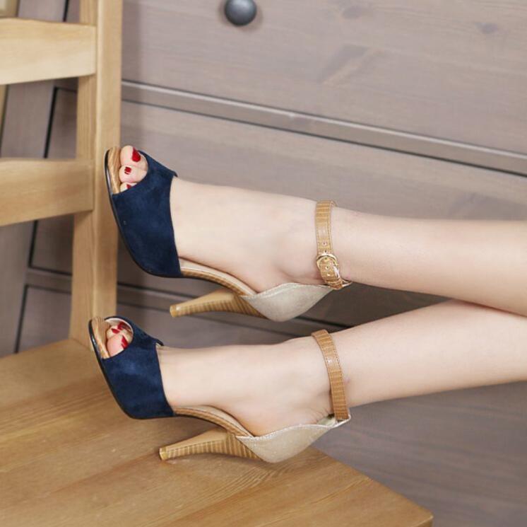 Taille Sexy Sandales 43 Hauts Décoration Talons Ouvert 2018 Nouvelle Chantiers rouge 34 Plus Haute Femmes La À Couleur Chaussures Mince Bleu à Bout Bloc Petits marron qO0RFPwO