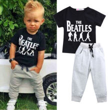Baby Boy clothes 2pcs Short Sleeve T-shirt Tops +Pants Outfit Clothing Set Suit with The Beatles printed