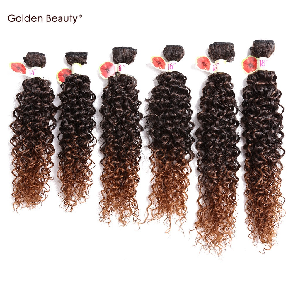 Hair-Bundles Blonde Synthetic Weave Curly Burgundy Ombre Sew-In Women for Black 6pcs/Pack