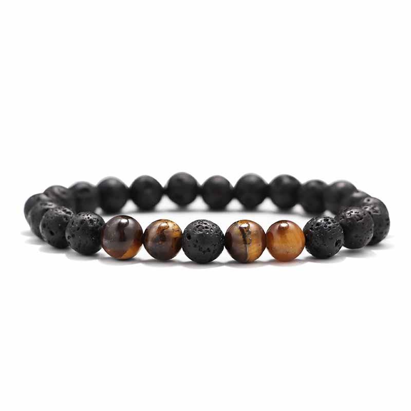 Мужские Браслеты Бусы из лавового Камня Натуральный Камень дерево жемчуг тигровый глаз бренд Модные четки 8 мм браслеты для йоги для женщин ювелирные подарки - Окраска металла: 14