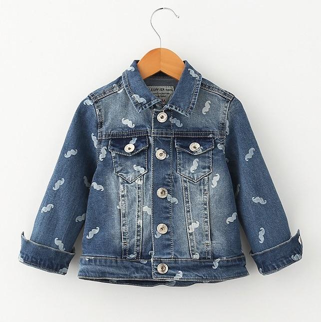 ФОТО Kids Jean Jacket Boys Denim Coats For Girls Little Beard Print Famous Brand Style To Children 3-10 Yrs